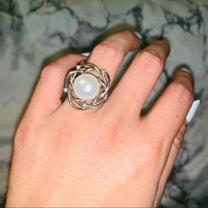 Sterling silver pearl ring with real diamonds